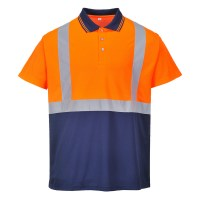 Polo bicolore orange / marine PORTWEST